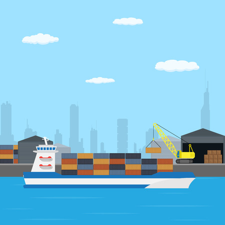 loading of a farry boat in port, flat style illustration Illustration