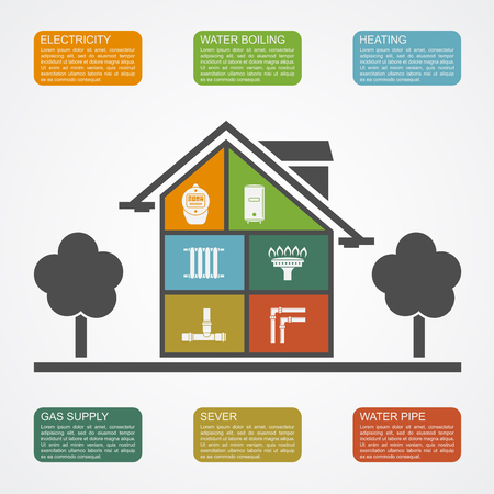 infographic template with house silhouette with icons, communication supply lines concept