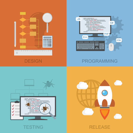 set of diagrams representinf software lifecycle - design, programming, testing, release, flat style illustration Vectores