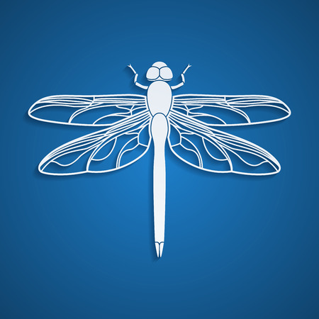 dragonfly wing: picture of a dragonfly silhouette on blue background Illustration