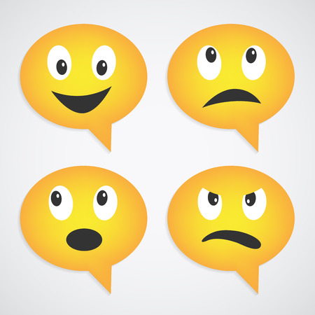 smiley face cartoon: set of speech bubble smiles with different emotions