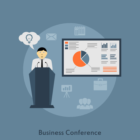 event: picture of a man making a speech on business conference, flat style illustration