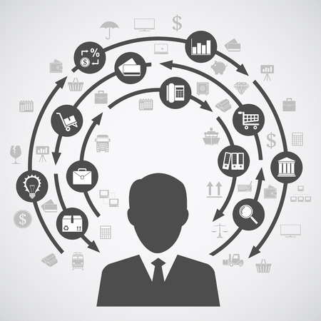 business people icon: picture of a human silhouette and a diagram of business processes with a lot of icons