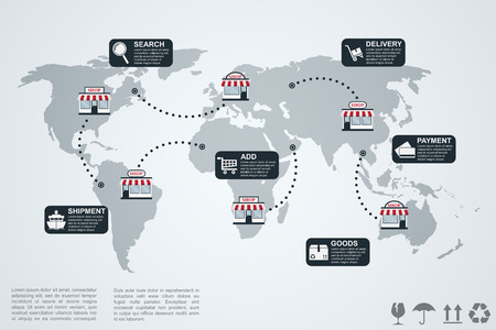 international sales: picture of infographic template with world map, shops and icons, e-commerce concept