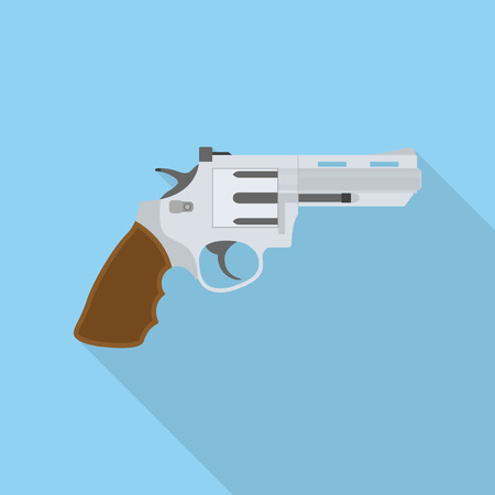 six shooter: picture of a revolver, flat style illustration Illustration