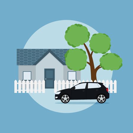 picture of a house, tree, fence and car, flat style illustration, happy family concept