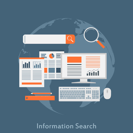 icons site search: a flat style illustration concept for information search, seo optimization, analytical web search