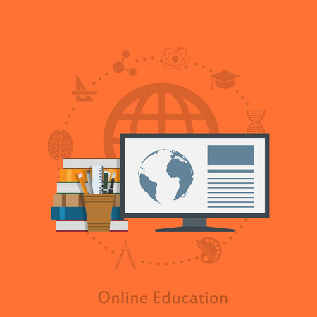 distant: flat style illustration for online distant education concept Illustration