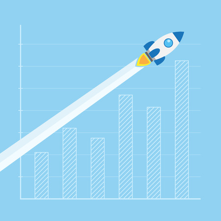 picture of a rocket flying in front of column graph, business start-up concept