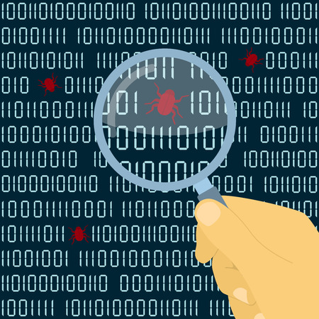 picture of human hand with magnifying glass in front of digital code with bugs, software testing concept 일러스트