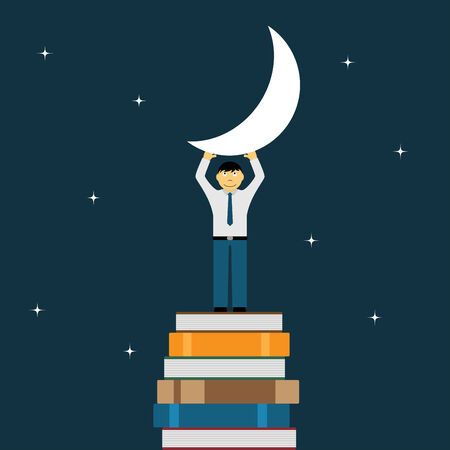 man in the moon: picture of a man standing on stack of books and holding the moon Illustration