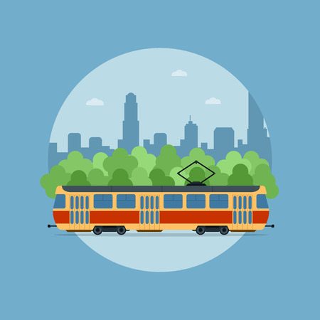 tramcar: picture of a tram in front of the trees and big sity silhouette Illustration