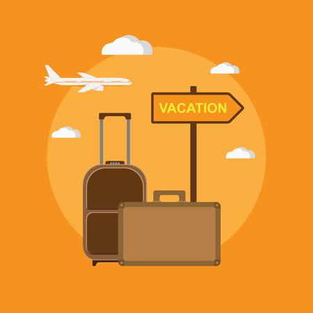 """vacaciones en la playa: foto de bolsas de viaje y se�al """"vacaciones"""", ilustraci�n de estilo plano Vectores"""
