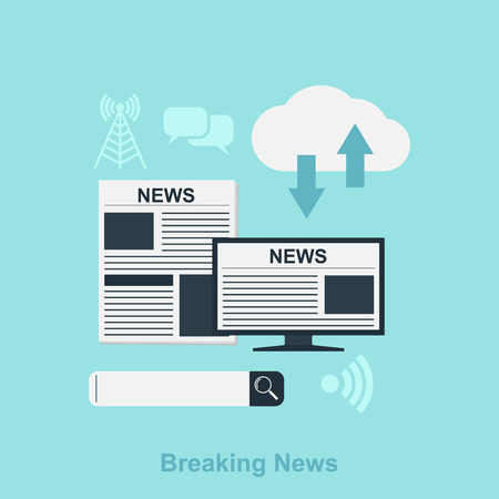 flat style illustration for news concept with icons, newspaper, computer, search bar, cloud Ilustração