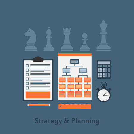 planing: set of business elements icons, strategy and planing concept, flat style illustration