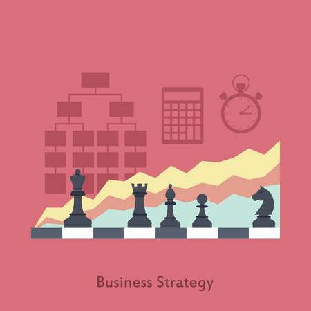 chess move: picture of chessboard with graphs and icons on background, business strategy concept, flat style illustration