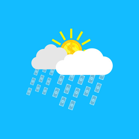 money rain: picture of clouds, sun in form of coins anf rain in forf of banknotes