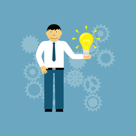 creativity concept: Picture of a man holding light bulb, flat style illustration, creativity concept