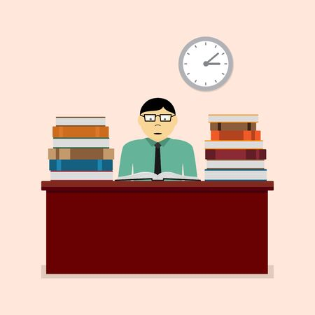 study table: picture of a mn sitting at the table and reading book, study, learning, education concept, flat style illustration Illustration