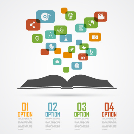 book silhouette: infographic template with opened book silhouette and icons, education, scieces concept Illustration