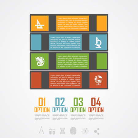 sciences: Infographic template with book stack silhouettes and icons, education and sciences concept