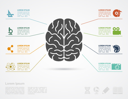 science text: infographic template with brain silhouette and icons af erts and science