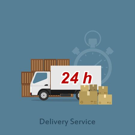 Picture of a delivery truck with package boxes, flat style illustration, shoping, delivery, shipment concept Vector