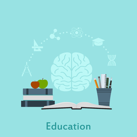 Education icon: Picture of books, apples, pens, pencils and icons, flat style illustration, education and knowledge concept