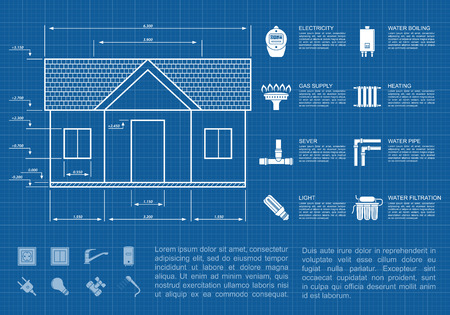 heat home: infographic template with house sketch and icons, communication supply lines concept Illustration