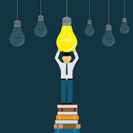 knowledge concept: picture of a man stading on books stack and holding lightbulb, flat style illustration, education, creativity and knowledge concept Illustration