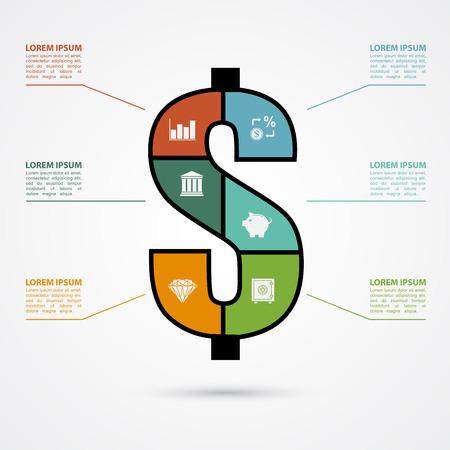 signo pesos: plantilla infograf�a con signo de d�lar y los iconos finace, las finanzas, el concepto de inversi�n