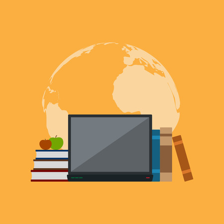 picture of books, notebook and apples in front of world map silhouette, flat style illustration, education, online education concept Vectores