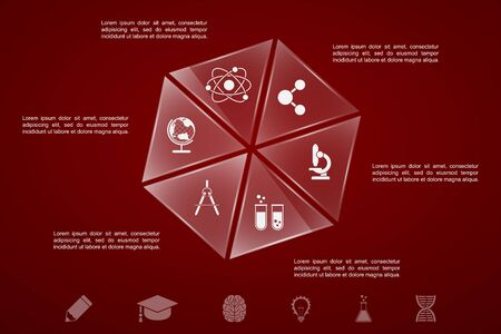sciences: infographic template with glass pieces, sciences and education icons
