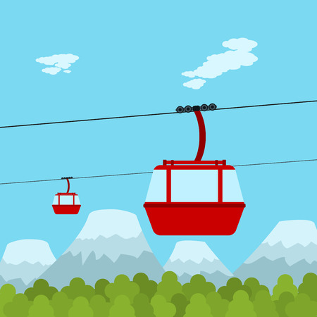 rope way: Picture of red ropeway cabines with forest and mountain on background, flat style illustration Illustration