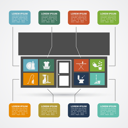 carpet cleaning service design: infographic template with house silhouette and icons, hose work concept Illustration