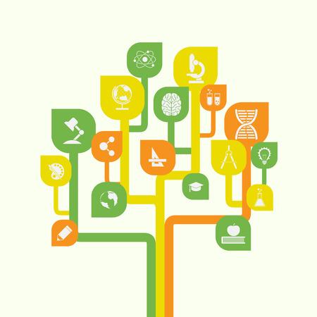 pictyre de árbol estilizado con iconos