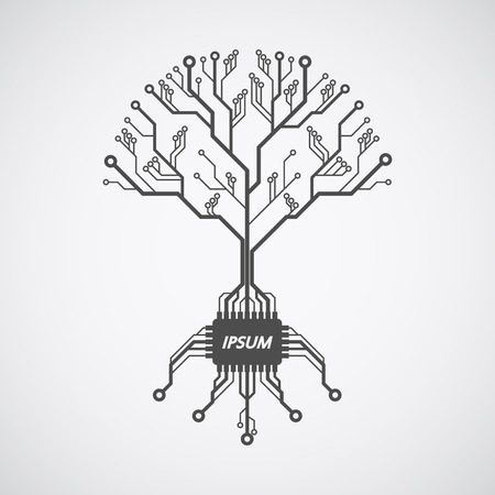 electronics icons: picture of a circuit board pattern infom of a tree with roots formed with chip Illustration