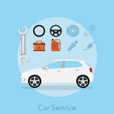 picture of a car with icons of wheel, stearing wheel, car battery, oil can, wrench and other, flat style illustration, car sevice concept