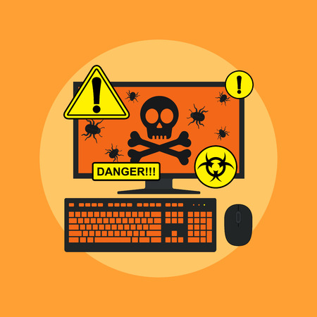 spyware: picture of computer with skull, bugs on its screen and danger signs, flat style illustration, spyware, virus infection concept