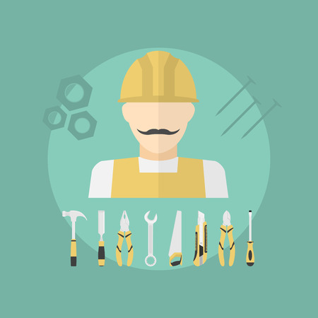 working man: picture of working man with set of diy tools, flat style illustration Illustration