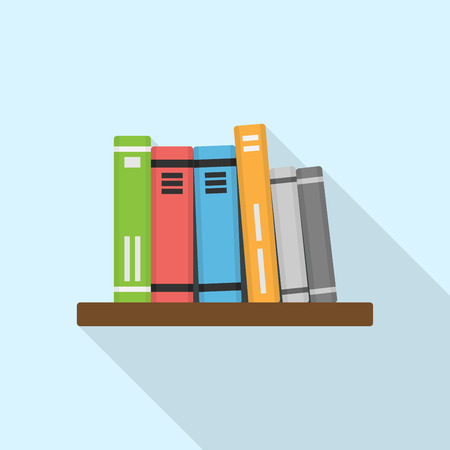 bibliography: picture of shelf with books, flat style illustration Illustration