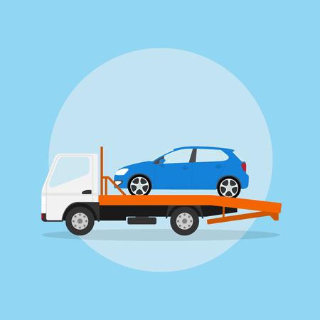imagen de la grúa con el coche en ella, ilustración de estilo plano