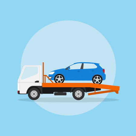 cars parking: picture of the tow truck with car on it, flat style illustration