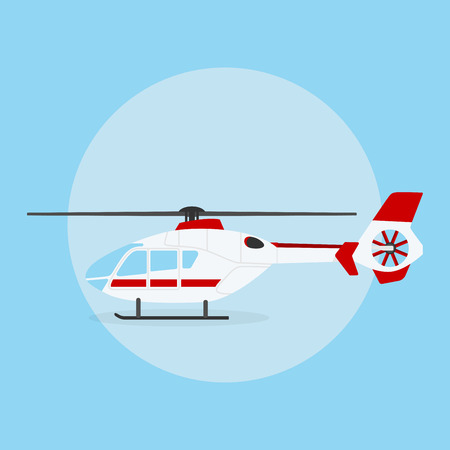 helicopter: picture of civilian helicopter on blue background, flat style illustration
