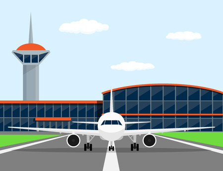 runway: picture of a civilian plane on landing strip, in front of airport, flat style illustration Illustration
