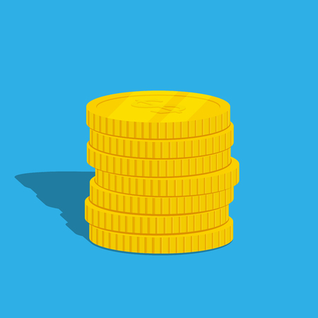coins stack: picture of coins stack on blue background, flat style illustration Illustration