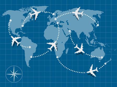 imagen del mapa del mundo con aviones volando sobre ella Ilustración de vector