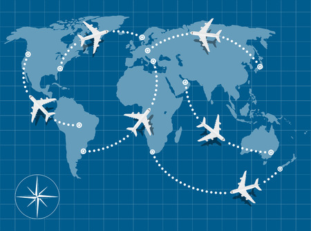 picture of world map with flying planes on it