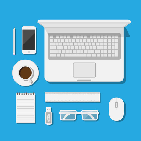 set of icons of modern business work flow, creative office workspace, flat syle illustration  イラスト・ベクター素材