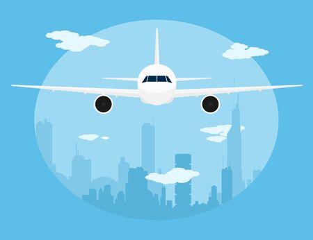 aereo: immagine di un aereo civile di fronte a una grande città sillhoette piatta illustrazione di stile